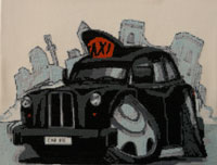 Stitched Black Cab Caricature