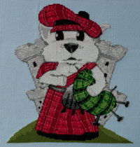 Westie Dog Caricature Cross Stitch Kit