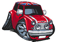 Mini Cooper Union Jack Roof Cross Stitch