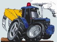 Ford Tractor With Plough Cross Stitch Kit