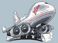Virgin Boeing 747 Jumbo Jet Cross Stitch Kit