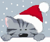 Grey Christmas Cat Cross Stitch Kit