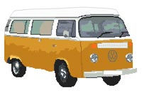 Volkswagen Camper Van Bay Window (detailed) Cross Stitch Kit