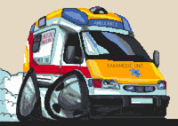 Paramedic Ambulance Cross Stitch Kit