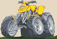 Quad Bike Caricature Cross Stitch Kit