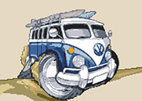 Beach camper Van Cross Stitch Kit