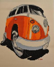VW Camper Van Split Screen Splitty Caricature Cross Stitch Kit