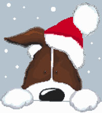 Brown Christmas Dog Cross Stitch