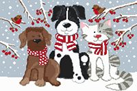 Pets in the Snow Cross Stitch Kit