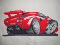 Lamborghini Countach Cross Stitch Kit
