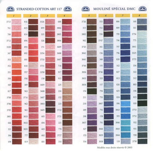 Dmc stranded cotton colour chart shade card stitchtastic