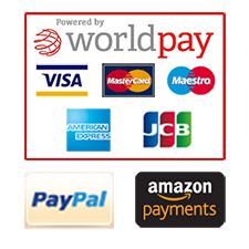 Visa, Mastercard,American Express, PayPal, Amazon Payments, Credit, Debit payments supported by Worldpay